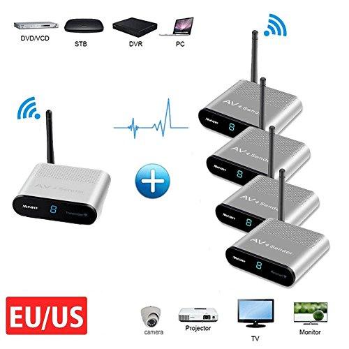 Measy AV530-4 RCA Extender 5,8 GHz Wireless AV Sender TV Audio Video Transmitter to Pro-Kamera für HDTV, Projektor, Monitor (1 x 4-Übertragung 300M / 1000FT) 5.8 Ghz Audio Video Sender