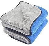 KinHwa 720 gsm doble capa coche paños toalla ultra grueso toallas de auto microfibra de limpieza de polaco para lavar el coche 40cmx60cm 2 pieza gris/azulado