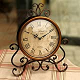 Labrado Del Hierro Del Reloj De Bronce Mudo Reloj De Mesa