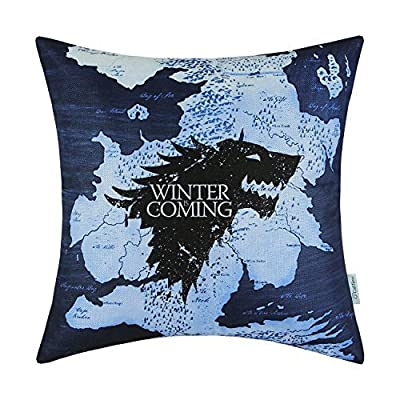 CaliTime Cushion Cover Pillows Shell A Game of Thrones Houses Stark Winter Is Coming 45cm X 45cm