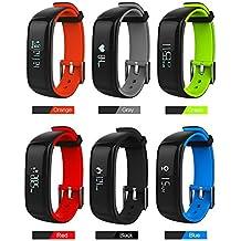 Fancy Cherry® P1reloj inteligente banda pulsera Fitness Tracker Bluetooth 4,0pulsera Deporte Música controlador, monitor de sueño, podómetro de seguimiento de calorías salud Compatible con Android IOS Iphone Samsung HTC Xiaomi Smartphone, niña, rojo