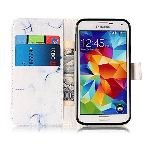 Cover per Samsung Galaxy S5 / S5 Neo Ultra Slim ,Custodia per Samsung Galaxy S5 / S5 Neo,Sunroyal Marmo Flip Libro Stand Case Cover in PU pelle Borsa e Portafoglio Wallet TPU Silicon Gel Protezione Ch Modello 08