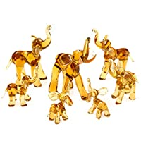 IK Style Elephant Family Set Of 7 Figurines With Trunks Facing Upwards - Handmade From Amber Color Glass - Good Luck Elephants Gift