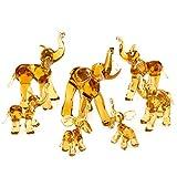 IK Style Elephant Family - Juego de 7 Figuras Decorativas con Troncos en la Parte Superior – Hecho a Mano en Cristal de Color ámbar – Regalo de Buena Suerte para Elefantes