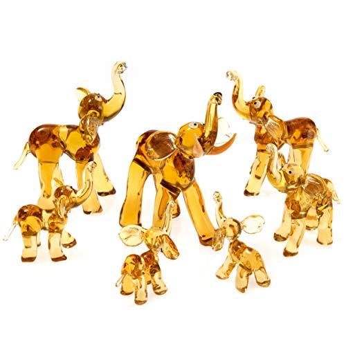 IK Style Elephant Family - Juego de 7 Figuras Decorativas con Troncos...