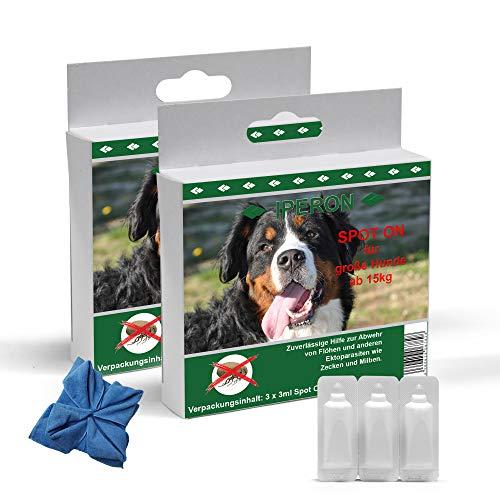 Lyra Pet® 2 x 5 x 1 ml IPERON Spot-ON für Grosse Hunde Zecken + Microfasertuch