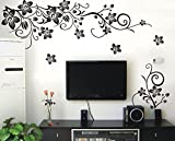 #5: Oren Empower Beautiful Black decorative branch with beautiful butterflies large wall sticker for living room (Finished size on wall - 150(w) x 75(h) cm)