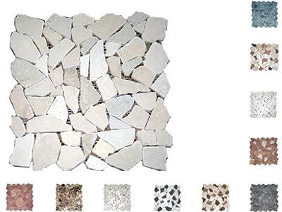 1Netz Marmor Mosaik Bruch getrommelt Cream von Mosaikdiscount24 bei TapetenShop