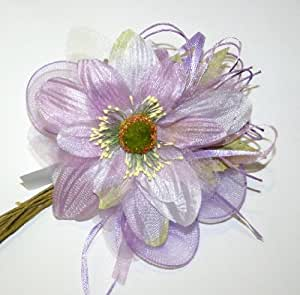 N°2 Fiori Dalia Lilla in stoffa con 5 palette porta confetti e nastri