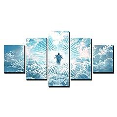 Idea Regalo - Haogang Art HD parete moderna arte tela quadro Poster 5 pezzi Gesù è venuta dipinti per soggiorno Home Decor stampe foto MODULARE ARREDAMENTO parete,30x40 30x60 30x80cm,Frame