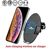 audbos Automatic Clamping Wireless Car Charger Mount, Car Wireless Charger for iPhone Xs Max/XR/XS/X/8/8 Plus Samsung Galaxy S9/S8/S7/Note 8/9 Accessories,Qi-Enabled Phones,Wireless Charger Car Black