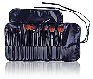 SHANY Professional 12 - Piece Natural Goat and Badger Cosmetic Brush Set with Pouch - Black by SHANY Cosmetics