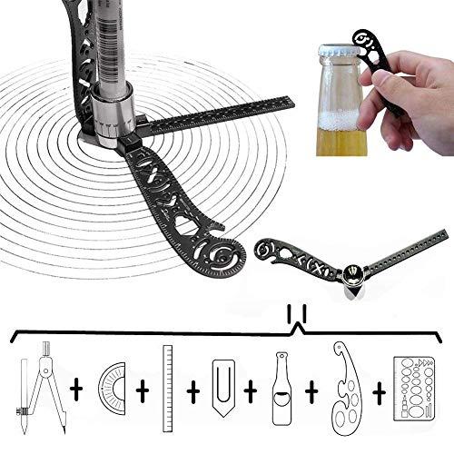 All in One Multifunktions Zeichenwerkzeug Vielseitiges Metallic Lineal Mini Kompass-Winkelmesser Combo Muster Notizblock Designer Künstler Architekten -