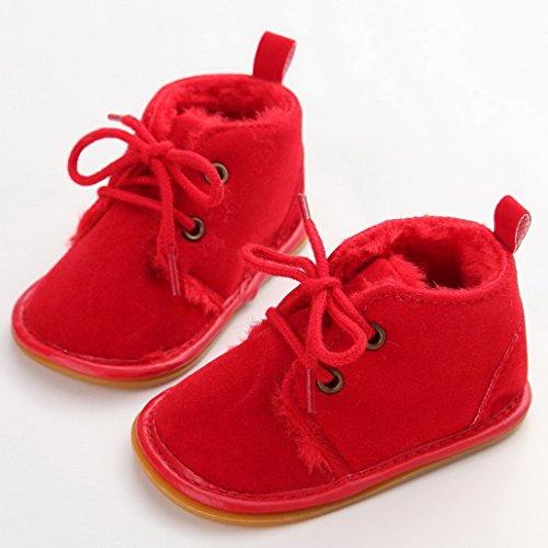 Flying Hedwig Baby Säugling Winter Schuhe Schnee Aufladungen Gummi Prewalker Krippe Boots 8 Farben Rot