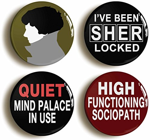 set-of-four-cool-sherlock-holmes-badges-buttons-pins-size-is-1inch-25mm-diameter