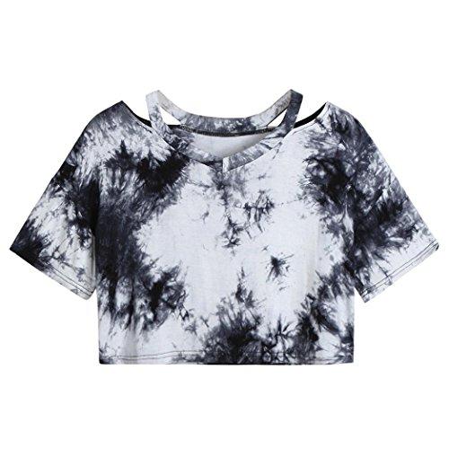 TUDUZ Damen Sommer Dye Kurzarm V- Ausschnitt Oberteil Tunika Tops Bluse Shirt Sportlich (Schwarz, S)