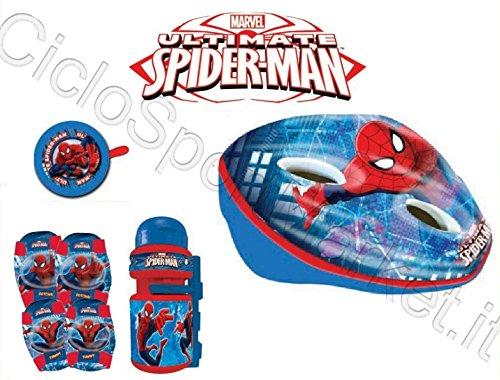 Kit Spiderman Kind/Kinder Fahrrad Helm + Klingel + Trinkflasche + Knieschützer