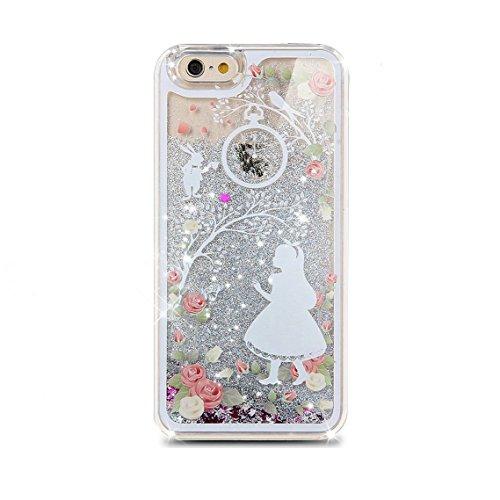iPhone 3S, Iphone 6cas, newstars iPhone 6S/liquide 6cas, étui pour iPhone 3S/6,3d Creative Design Fluide Liquide flottant de luxe Love Hearts Bling Paillettes étoiles PC Coque rigide pour iPhone 3S/ Silver:Snow World