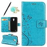 Uposao Lederhülle Samsung Galaxy S4 Mini Handytasche Schmetterling Blumen Prägung Retro Handyhülle Leder Tasche Brieftasche Klapphülle Bookstyle Flip Cover mit Standfunktion Kartenfächer,Blau