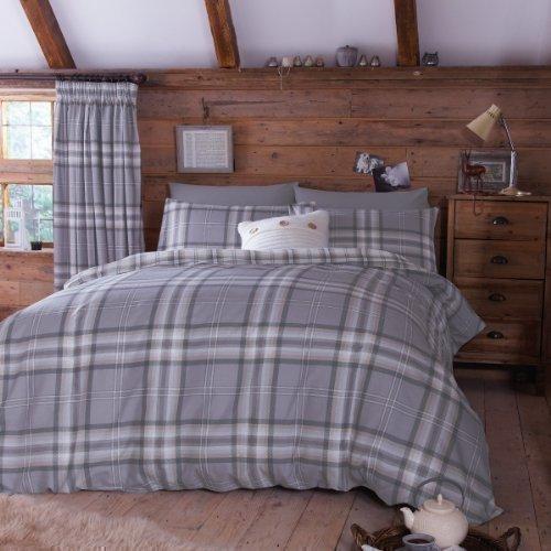 Edinburgh Bettbezug Set großes Doppelbett grau Schottenmuster kariert wendbar aus Baumwolle (Holzkohle Grau Bettbezug)