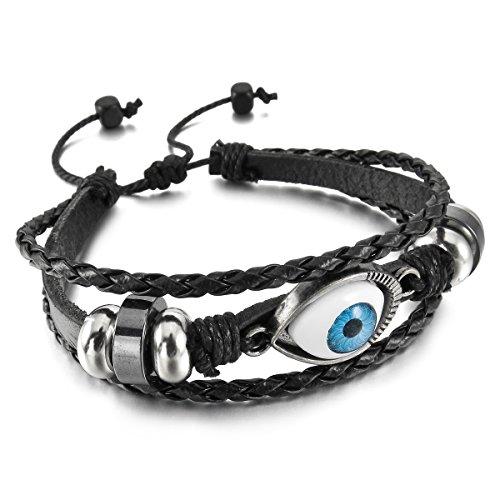 MunkiMix Alliage Résine Genuine Leather Véritable Bracelet Bracelet Menotte Noir Brun Evil Diable Œil Oeil Yeux Réglable Homme,Femme Noir
