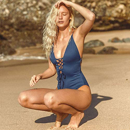 Bandeau One Piece Suit (SHENGYUNPIO Remind Me Solid One-Piece Swimsuit Women Backless Deep V Neck Lace Up Bodysuits 2019 Beach Bathing Suit Swimwear)
