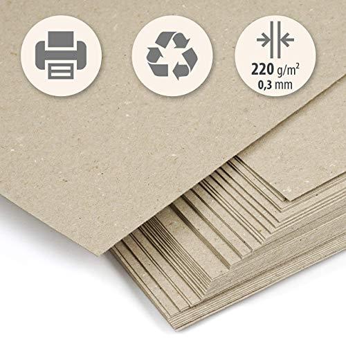 50 fogli di carta kraft, spessa, riciclata, beige chiaro, din a4, 220 g/m2, cartoncino compatto, per stampa, artigianato, scrapbooking, biglietti da visita