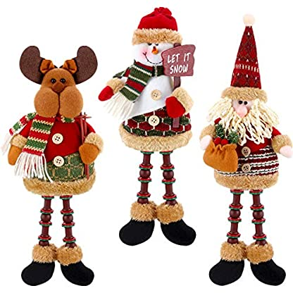 3 Piezas de Papá Noel Muñeco de Nieve Reno Sentado de Navidad Adorno de Navidad Piernas Largas Adornos de Mesa Chimenea Decoración Figurines de Navidad de Felpa (Santa Claus, Muñeco de Nieve, Alce)