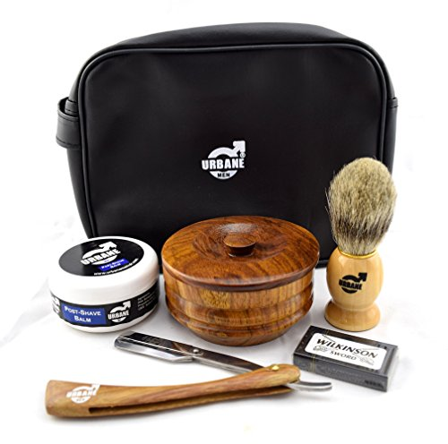 Urbane Men Traditional Shaving Complete Kit Gift Set - with Shaving Bowl, Soap, Brush, Post Shave Balm & Leather Case