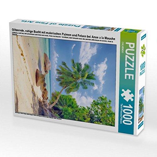 Glitzernde, ruhige Bucht mit malerischen Palmen und Felsen bei Anse a la Mouche 1000 Teile Puzzle hoch