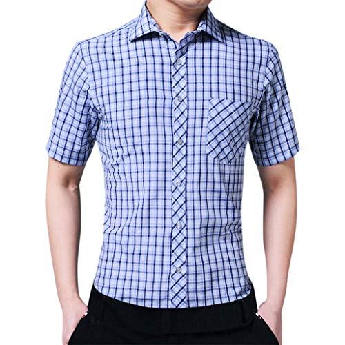 Xmiral Shirt Hemd Herren Sommer Mode Umlegekragen Plaid Gedruckte Kurzarm Shirt Top Poloshirt Kurzarm Patchwork Sommer T-Shirt Men's Polo Shirt(Blau,XL)