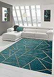 Merinos Orientteppich Wohnzimmer Teppich Geometrisches Muster in Türkis Bronze Größe 200 x 290 cm
