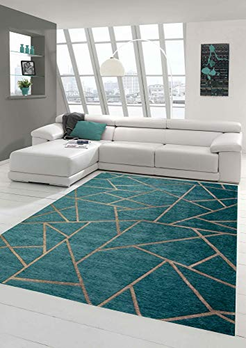 h Wohnzimmer Teppich Geometrisches Muster in Türkis Bronze Größe 80 x 250 cm ()