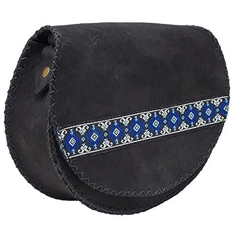 Koson Leather schwarz Handgefertigte Schulter Handtasche Messenger Bag für Frauen