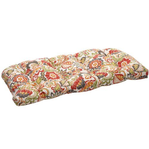 Pillow Perfect Indoor/Outdoor Multicolored Modern Floral Wicker Loveseat Cushion by Pillow Perfect - Wicker Loveseat