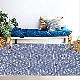 YCMXMY Home Alfombra De Diseño Líneas Hexagonales Blancas Ligera Y Reversible Multifunciona Lavable Base De Caucho 200X300Cm