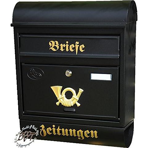 Nuovo cassetta delle lettere, qualità premium, zincato, a polveri R/AP XXL Antracite Nero Oro con giornale rotolo montato cassetta postale Post
