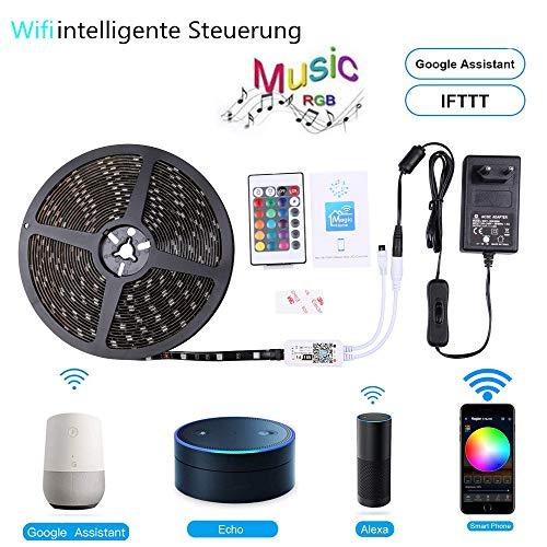 Miwatt RGB LED Streifen Kit,10m, 16 Millionen Farben,steuerbar via App, Kompatibel mit Alexa, Google Home, IFTTT, wasserdichte, Sync mit Musik(SMD 5050 IP65) -