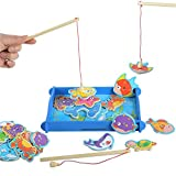 Toyshine Wooden Magnetic Fishing Game Toy with 12 Pcs