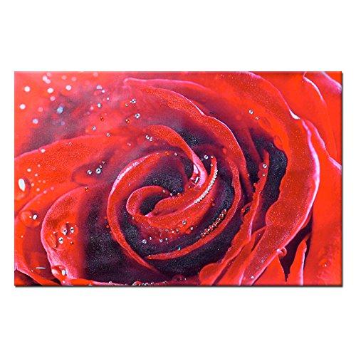 Quadro gioiello stampa su tela con strass e glitter Rosa rossa 60x90