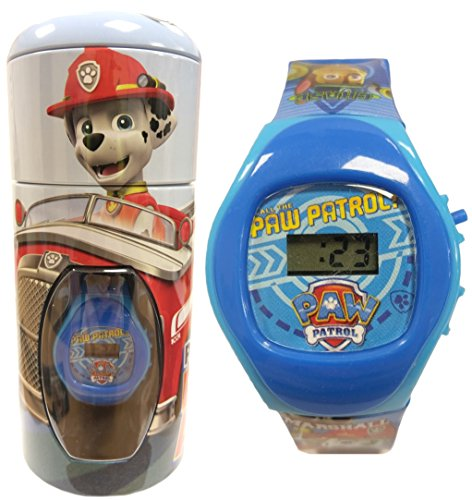 official-paw-patrol-chase-marshall-blue-childrens-digital-wrist-watch-in-money-bank-tin-56274