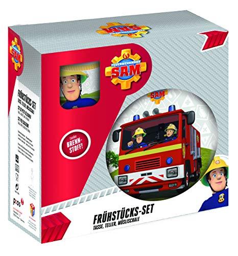 POS 27123 - Frühstücksset mit Feuerwehrmann Sam Motiv, 3 teiliges Geschirrset für Kinder, aus Keramik, bestehend aus Teller, Schale und Tasse, spülmaschinengeeignet