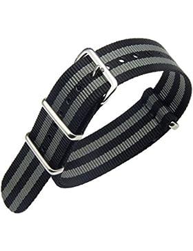 20mm schwarz / grau Luxus exquisite Männer einteiliger NATO Stil Nylon Perlon Uhrenarmbänder Bänder Textil
