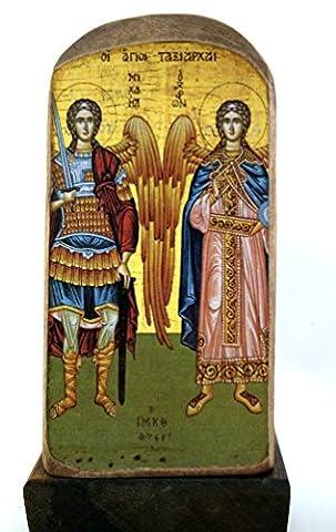 Handmade Wooden Greek Christian Orthodox Mount Athos Icon of Archangel