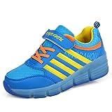 KISCHERS Kinder Junge Mädchen LED Schuhe mit Rollen Skateboard Rollschuhe Sneaker (29, Blau)