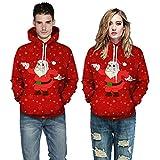 Fenverk Unsiex HäSslich Weihnachten Fahren Sweatshirts 3D-Druck Lange äRmel T-Shirt Herren Zone GefüTtert Mit Kapuze Jacke Luxus Weich Jumper Verziert Gestrickt Jumpe(Rot 1,3XL)