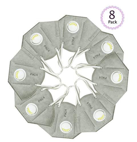 YGSAT Staubmaske 8 Set Feinstaubmaske mit Filter Premium Atemmaske Unisex Mundschutz Maske für Private Oder Arbeitsplatz Wie Landwirtschaft Industrie Usw/Grau
