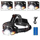 Stirnlampe LED, icefox Wasserresistente Sicherheits- und Komfort-Kopflampe mit vier Modi zum Umschalten, leichte Taschenlampe zum Angeln, Lesen in der Nacht, Reiten, Laufen und vieles mehr