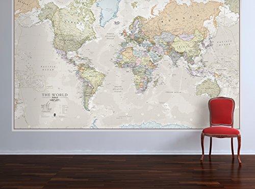 Mappa laminata del mondo grande