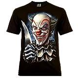 Joker Clown with Knife Herren T-Shirt Schwarz Gr. 3XL Glow in The Dark